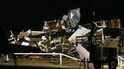Emergency workers search through debris from a mobile home park in El Reno, Oklahoma, after a tornado hit the area.