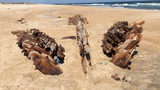 Remains Of 100-Year-Old Wooden Ship Exposed On North Carolina Beach
