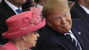 Queen Elizabeth II speaks with President Donald Trump during an event to mark the 75th anniversary of D-Day in Portsmouth, England, on Wednesday, June 5, 2019. (AP Photo/Matt Dunham)