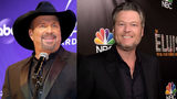 """Oklahoma country music superstarsGarth Brooks (left) andBlake Shelton (right) are releasing a duet together this summer called """"Dive Bar,""""according to Entertainment Tonight. (left, Terry Wyatt/Getty Images; right, Kevin Winter/Getty Images)"""