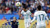 Argentina's Eliana Stabile heads the ball during their match against Japan Monday, June 10, 2019. The U.S. team plays Thailand on Tuesday.