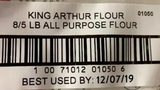 This is one of the labels from a 5-pound bag of unbleached flour that was voluntarily recalled.