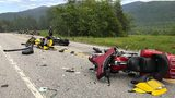 Several motorcycles and a pickup truck collided on a rural, two-lane highway Friday in Randolph, N.H. New Hampshire State Police said a 2016 Dodge 2500 pickup truck collided with the riders on U.S. 2.  (Miranda Thompson via AP)