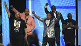 Raymond Santana Jr, from left, Kevin Richardson, Korey Wise, Yusef Salaam, and Antron McCray, also known as The Exonerated Five, introduce a performance by H.E.R. and YBN Cordae at the BET Awards on Sunday, June 23, 2019, at the Microsoft Theater.