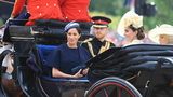 Britain's Prince Harry, Meghan Duchess of Sussex, Kate Duchess of Cambridge and Camilla Duchess of Cornwall attend the annual Trooping the Colour Ceremony in London, Saturday, June 8, 2019.