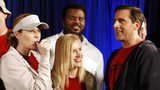 """FILE - In this April 14, 2009, file photo cast members, from left, Jenna Fischer, Angela Kinsey, Craig Robinson, and Steve Carell are seen after cutting a cake celebrating the 100th episode of the television show """"The Office."""""""