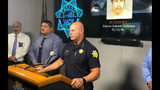 Fresno police Chief Jerry Dyer, at podium, speaks Sunday, June 23, 2019, about the arrest of Marcos Antonio Echartea, 23, who is charged with three counts of attempted murder in the shooting of Fayth Percy, 10 months old. Fresno Police Department