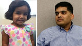 Sherin Mathews is pictured at left in an undated photo. The girl's father, Wesley Mathews, is pictured at right in November 2017 in a Dallas courtroom. Mathews, 39, was sentenced to life in prison Wednesday, June 26, 2019, in the girl's death.
