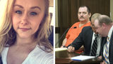 Sydney Loofe, 24, is pictured at left in an undated photo. Aubrey Trail, pictured at right during a June 2018 hearing in a Wilmer, Neb., courtroom, is on trial for first-degree murder in Loofe's Nov. 15, 2017, strangulation and dismemberment.