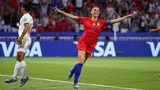 Alex Morgan of the USA celebrates after scoring her team's second goal during the 2019 FIFA Women's World Cup France Semi Final match between England and USA at Stade de Lyon on July 02, 2019 in Lyon, France. (Photo by Richard Heathcote/Getty Images)