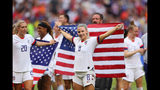 Julie Ertz of the USA celebrates following the 2019 FIFA Women's World Cup France Final match between The United States of America and The Netherlands at Stade de Lyon on July 07, 2019 in Lyon, France.