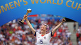 Megan Rapinoe of the USA celebrates with the Golden Ball award following the 2019 FIFA Women's World Cup France Final match between The United States of America and The Netherlands at Stade de Lyon on July 07, 2019 in Lyon, France.