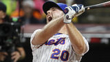 Pete Alonso, of the New York Mets, reacts during the Major League Baseball Home Run Derby, Monday, July 8, 2019, in Cleveland. The MLB baseball All-Star Game will be played Tuesday. (AP Photo/John Minchillo)