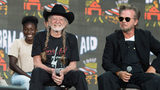 The Farm Aid press conference with Willie Nelson (L) and John Mellencamp (R) at the XFINITY Theatre in Hartford, Connecticut on September 22, 2018.