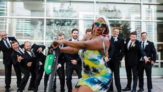 Must-see: Woman riding scooter crashes wedding shoot in epic photo-bomb