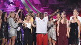 Host Tracy Morgan and members of the U.S. women's national soccer team, winners of the award for best team, appear on stage at the conclusion of the ESPY Awards on Wednesday, July 10, 2019, at the Microsoft Theater in Los Angeles.