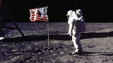 Astronuats Neil Armstrong and Buzz Aldrin planted the American flag on the moon during the historic Apollo 11 mission on July 20, 1969.