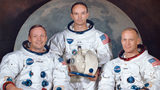 "This March 30, 1969, photo made available by NASA shows the crew of the Apollo 11, from left, Neil Armstrong, commander; Michael Collins, module pilot; Edwin E. ""Buzz"" Aldrin, lunar module pilot."