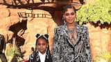 "Blue Ivy Carter (L) and her mother, Beyonce, attend the World Premiere of ""The Lion King."" Blue appears in the music video for Beyonce's song ""Spirit."""