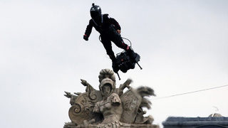 Man takes flight on flying board over Paris for Bastille Day