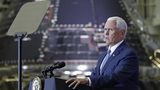Vice President Mike Pence speaks during an event for employees, their families and supporters at the Kennedy Space Center in recognition of the Apollo 11 anniversary, Saturday, July 20, 2019, in Cape Canaveral, Fla. (AP Photo/John Raoux)