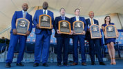 Inductees Harold Baines, Lee Smith, Edgar Martinez, Mike Mussina, Mariano Rivera and Brandy Halladay, wife of the late Roy Halladay, at the Baseball Hall of Fame induction ceremony Sunday in Cooperstown, New York. (Photo: Jim McIsaac/Getty Images)