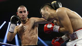 Maxim Dadashev (L) of Russia battles with Antonio de Marco of Mexico during a super lightweight bout at Park Theater at Monte Carlo Resort and Casino in Las Vegas on October 20, 2018. Dadashev died in July 2019 at age 28.
