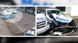 A driver carrying more than 600 pounds of suspected methamphetamine in New South Wales, Australia, crashed his van into police cars parked outside a police precinct Monday, June 22, 2019, in Eastwood, a suburb of Sydney.