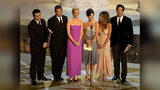 (L to R) Actors Matt LeBlanc, Matthew Perry, Lisa Kudrow, Courteney Cox Arquette, Jennifer Aniston and David Schwimmer present an award during the 54th Annual Primetime Emmy Awards at the Shrine Auditorium on September 22, 2002 in Los Angeles.