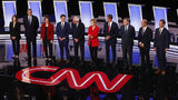 Candidates take the stage for the first of two Democratic presidential primary debates hosted by CNN on Tuesday, July 30, 2019, in the Fox Theatre in Detroit.