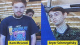 In this July 23, 2019 file photo, security camera images of fugitives Kam McLeod, 19, and Bryer Schmegelsky, 18, are displayed during a news conference in Surrey, British Columbia. Officials said the two killled themselves by gunfire.