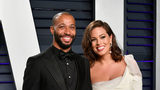 Justin Ervin (L) and Ashley Graham are expecting thier first child.