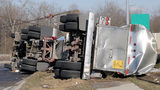 Kansas storm topples 20 semi-trucks