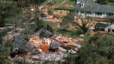 Aerial views made of the devastation wrought by Hurricane Camille after the storm lashed ashore with winds of nearly 200 mph. Interiors of homes were gutted and in some cases, entire homes were flattened. Photo by Getty Images.