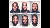Tyrone Allen, bottom far left, is seen in a photo array shown to witnesses in four 2017 Portland, Ore., bank robberies. Allen, 50, is accused of the crimes but his lawyer says Allen, who has facial tattoos not seen on the robber, is innocent.