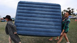 FILE PHOTO: Air mattresses similar to this one blew away during a movie under the stars event in Denver.