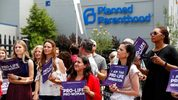 In this file photo, Anti-abortion advocates gather outside the Planned Parenthood clinic in St. Louis. AP Photo/Jeff Roberson