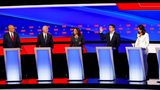 Sen. Cory Booker, Joe Biden, Sen. Kamala Harris, Andrew Yang and Rep. Tulsi Gabbard participate in the second of two Democratic presidential primary debates hosted by CNN, July 31, 2019, in the Fox Theatre in Detroit. AP Photo/Paul Sancya