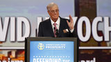 In this Aug. 1, 2015, file photo, David Koch speaks at a summit hosted by Americans for Prosperity in Columbus, Ohio. Koch, a major donor to conservative causes and educational groups, died on Friday, Aug. 23, 2019. He was 79.