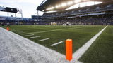 A pylon marks the modified end zone that was used at IG Field in Winniepg during Thursday night's NFL preseason game between Green Bay and Oakland.