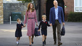 Britain's Princess Charlotte, left, with her brother Prince George and their parents Prince William and Kate, Duchess of Cambridge, arrives for her first day of school at Thomas's Battersea in London, Sept. 5, 2019. (Aaron Chown/Pool via AP)