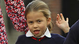 Britain's Princess Charlotte arrives for her first day of school at Thomas's Battersea in London, with her brother Prince George and their parents Prince William and Kate, Duchess of Cambridge, Thursday Sept. 5, 2019.