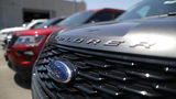 Ford Explorer SUVs are parked for sale at a dealership on June 12, 2019 in Glendale, California. Ford has issued a recall for 311,000 2017 Explorers due to a power seat frame hazard.