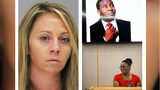 Ex-Dallas cop Amber Guyger, 31, is seen Tuesday, Oct. 1, 2019, in a mugshot taken following her murder conviction for the September 2018 death of Botham Jean. Jean's mother, Allison Jean, at right, testifies during the penalty phase of the trial.