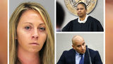 Ex-Dallas cop Amber Guyger, left, is pictured in a mugshot Tuesday, Oct. 1, 2019, after her conviction for killing neighbor Botham Jean. At top right is Judge Tammy Kemp and at bottom right is Guyger's former partner and lover, Martin Rivera.
