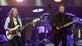 Timothy B. Schmit (L) and Don Henley of the Eagles perform at MGM Grand Garden Arena on September 27, 2019 in Las Vegas.