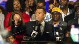 Mayor-elect Steven Reed delivers his acceptance speech at the Warehouse in the Alley in Montgomery, Ala., on Tuesday, Oct. 8, 2019. Probate Judge Reed, 45, makes history as the first black mayor of Montgomery.