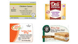 Four labels of the dozens of products that are subject to a nationwide recall of ready-to-eat poultry products made by Tip Top Poultry, Inc.