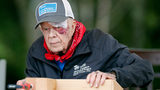 With a bandage above his left eye and a large, red welt below it, former President Jimmy Carter builds corbels at a Habitat for Humanity project Monday, Oct. 7, 2019, in Nashville, Tenn.