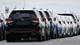 Subaru Corp. vehicles bound for shipment stand at a port in Kawasaki, Japan, on Thursday, Sept. 26, 2019. Subaru has recalled 2015-2018 model Foresters.